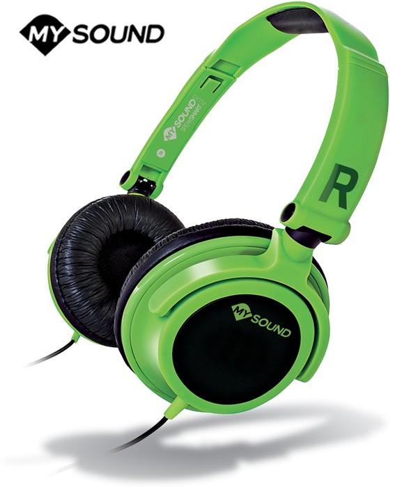 Słuchawki nauszne MySound Speak Smart z mikrofonem - Zielone