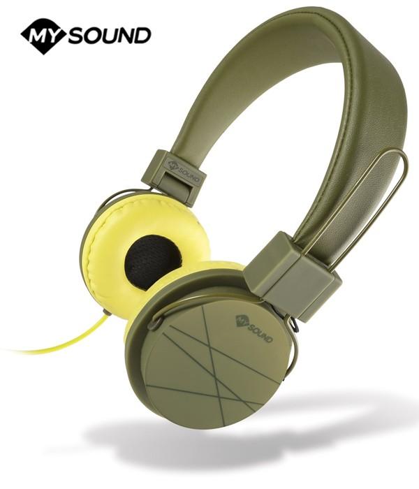 Słuchawki nauszne MySound Speak Street z mikrofonem - Military