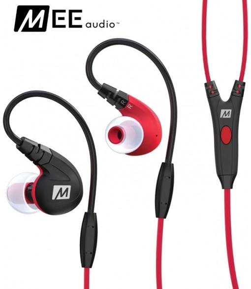 Słuchawki dokanałowe MEE Audio M7P z mikrofonem - Czerwone